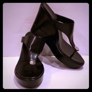 BCBG black wedge platform sandals